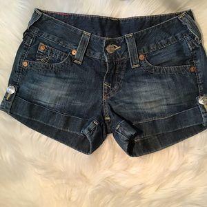 True Religion Jess Cuffed Denim Shorts Size 26